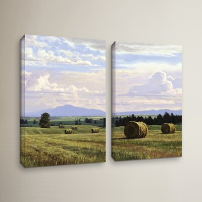 Fresh Cut Hay 2 Piece Painting Print on Wrapped Canvas Set