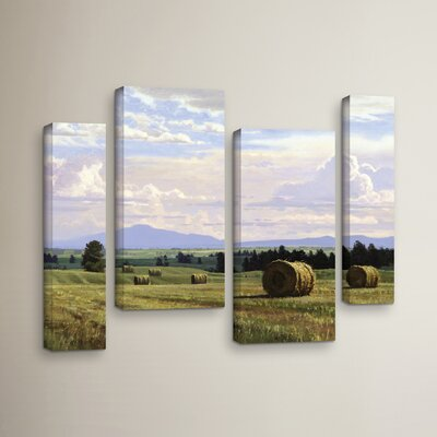 Fresh Cut Hay 4 Piece Painting Print on Wrapped Canvas Set