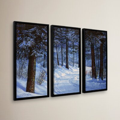 Forest Road 3 Piece Framed Photographic Print on Canvas Set