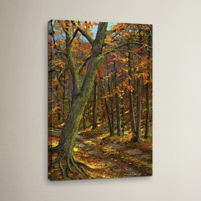 Road in the Woods Painting Print on Wrapped Canvas
