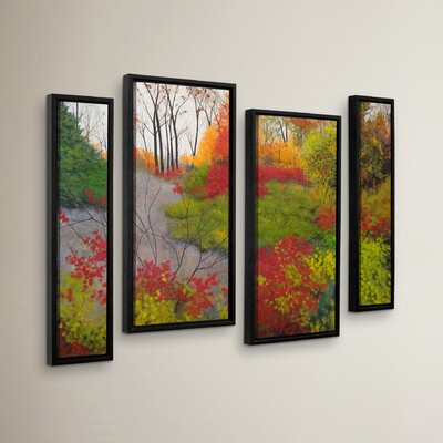 Red Leaves 4 Piece Framed Painting Print Set