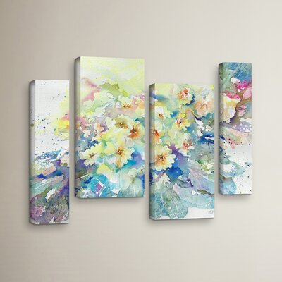 Primroses 2013 4 Piece Painting Print on Wrapped Canvas Set