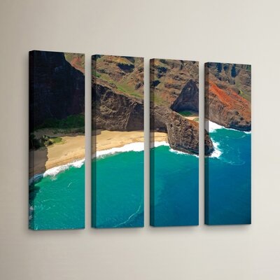 Turtle Head Sea Cave Napali Coast 4 Piece Photographic Print on Wrapped Canvas Set