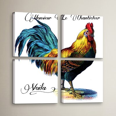 Monsieur Le Chanticleer 4 Piece Painting Print on Wrapped Canvas Set Size: 36