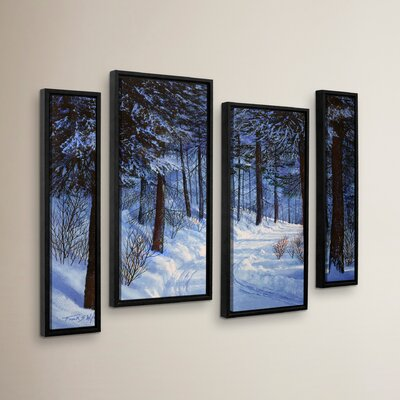 Forest Road 4 Piece Framed Photographic Print on Canvas Set