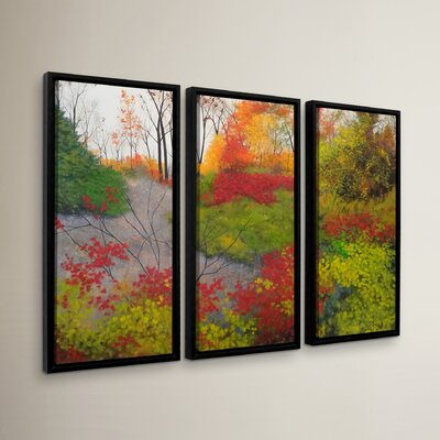 Red Leaves 3 Piece Framed Painting Print Set