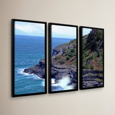 Sea Cave and Nesting Birds 3 Piece Framed Photographic Print on Canvas Set Size: 24