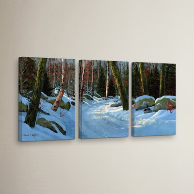 Winter Road 3 Piece Painting Print on Wrapped Canvas Set