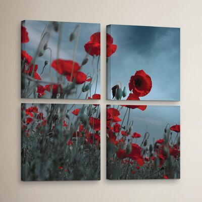 Hot Cold Contrast 4 Piece Photographic Print on Wrapped Canvas Set Size: 36
