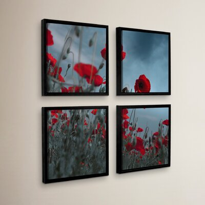Hot Cold Contrast 4 Piece Framed Photographic Print on Canvas Set Size: 36