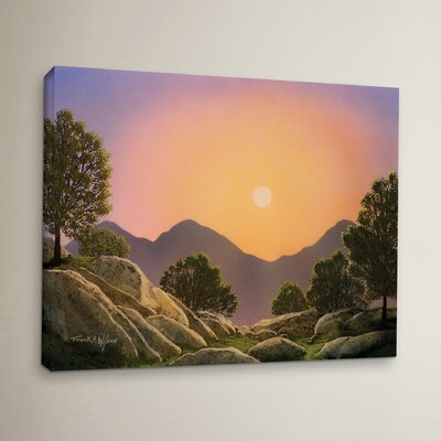 Glowing Landscape Painting Print on Wrapped Canvas