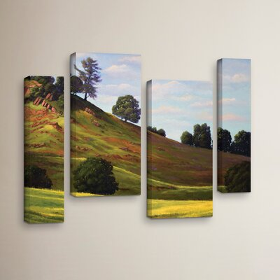 Spring Day 4 Piece Painting Print on Wrapped Canvas Set