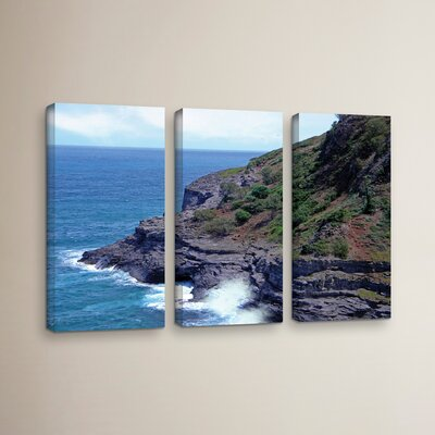 Sea Cave and Nesting Birds 3 Piece Photographic Print on Wrapped Canvas Set Size: 24
