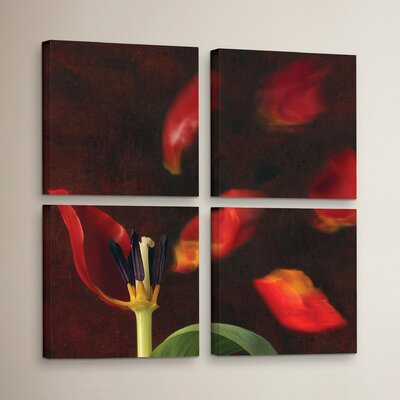 Tulip and Windy Mood 4 Piece Photographic Print on Wrapped Canvas Set