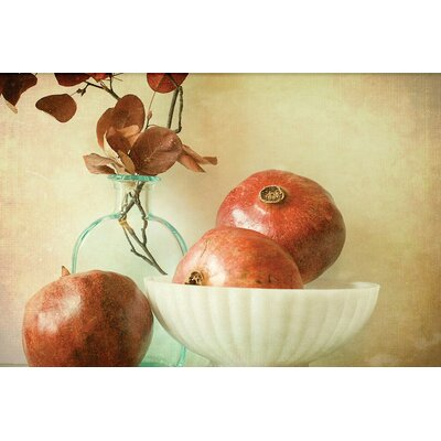 Pomegranates and Milk Glass by Olivia Joy Photographic Print on Wrapped Canvas