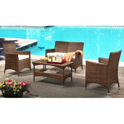 Bungalow 4 Piece Deep Seating Group with Cushions