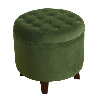 Klingensmith Velvet Round Storage Ottoman Color: Forest Green