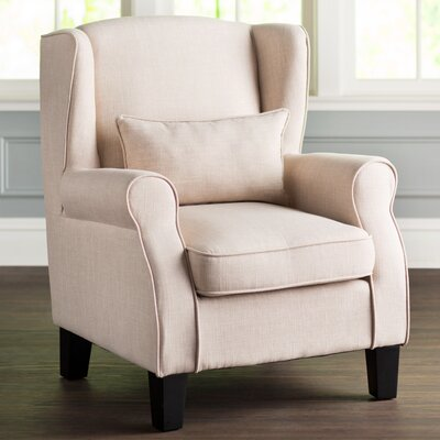 Mainville Solid Wingback Chair Upholstery: Beige