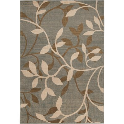 Karbach Tea Leaves Gray/Dark Brown Area Rug Rug Size: Rectangle 53 x 76