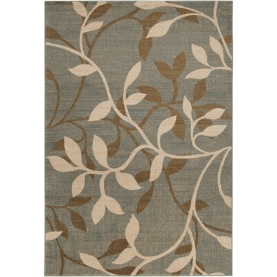 Karbach Tea Leaves Gray/Dark Brown Area Rug Rug Size: 53 x 76