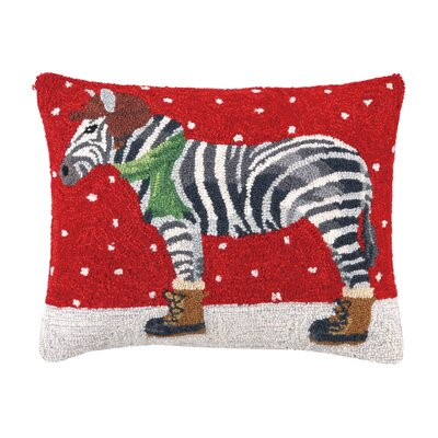 Koons Winter Zebra Hook Wool Lumbar Pillow