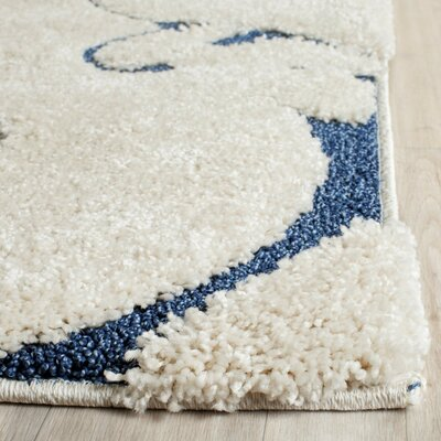 Alison Cream/Navy Blue Area Rug