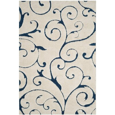 Alison Cream/Navy Blue Area Rug Rug Size: 6' x 9'