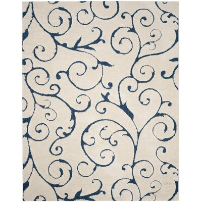 Alison Cream/Navy Blue Area Rug Rug Size: 8 x 10
