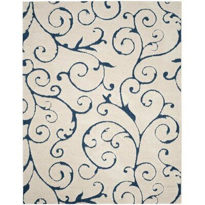 Alison Cream/Navy Blue Area Rug Rug Size: Rectangle 11' x 15'