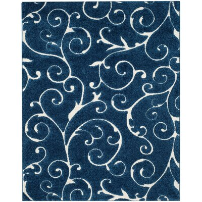 Alison Navy Blue/Cream Area Rug Rug Size: 6 x 9