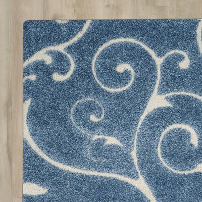 Alison Light Blue / Cream Area Rug Rug Size: Round 4