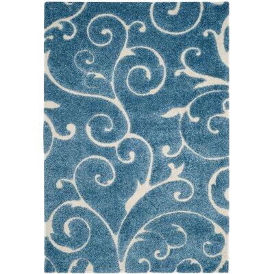 Alison Light Blue / Cream Area Rug Rug Size: 33 x 53