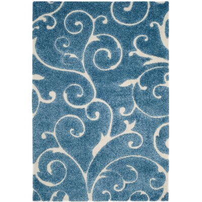 Alison Light Blue / Cream Area Rug Rug Size: 6 x 9