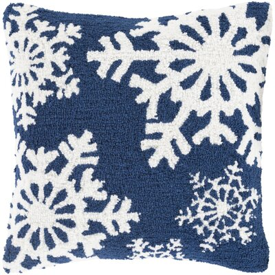 Snowflakes Pillow Cover Fill Type: Down, Color: Blue/White