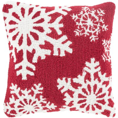 Snowflakes Pillow Cover Fill Type: Down, Color: Red/White
