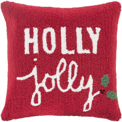 Holly Jolly Throw Pillow Fill Type: Polyester, Color: Red