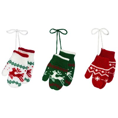 3 Piece Knitted Mitten Ornament Set