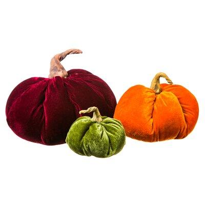 Velvet Harvest 3 Piece Pumpkin Figurine Set