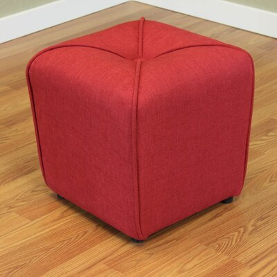 Mapletown Upholstered Ottoman Color: Deep Red