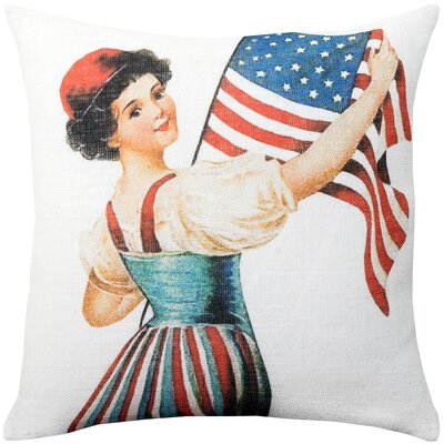 Knowles American Flag Burlap Throw Pillow Size: 16 H x 16 W x 6 D