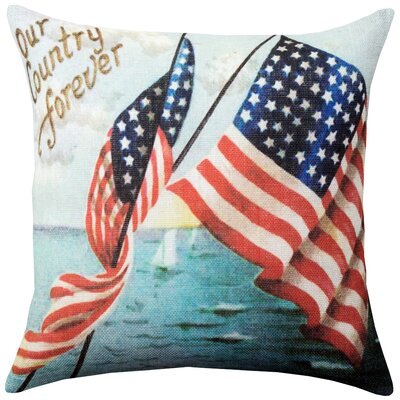 Knutson Americana Burlap Throw Pillow Size: 18 H x 18 W x 8 D