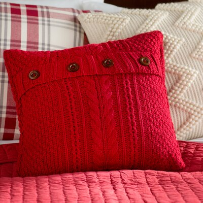 Newmanstown Cable Knit Throw Pillow Color: Red