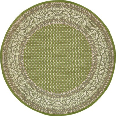Gillam Geometric Green Area Rug Rug Size: Round 5