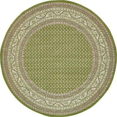 Gillam Geometric Green Area Rug Rug Size: Round 8