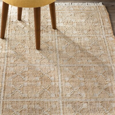 Hand-Woven Beige/Ivory Area Rug Rug Size: Rectangle 4 x 6