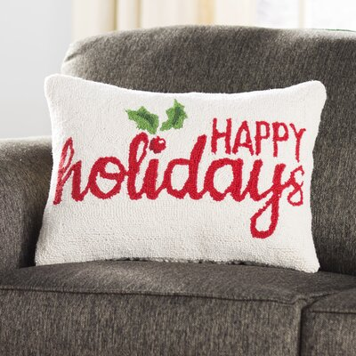 Happy Holidays Holly Hook Wool Throw Pillow