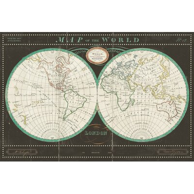 Torkingtons World Map Slate Graphic Art on Wrapped Canvas