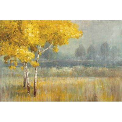 Yellow Landscape Painting Print on Wrapped Canvas