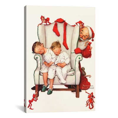 'Santa Looking at Two Sleeping Children' by Norman Rockwell Graphic Art