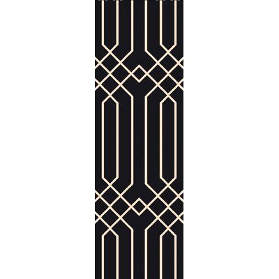 Rainsburg Black Geometric Area Rug Rug Size: Runner 26 x 8